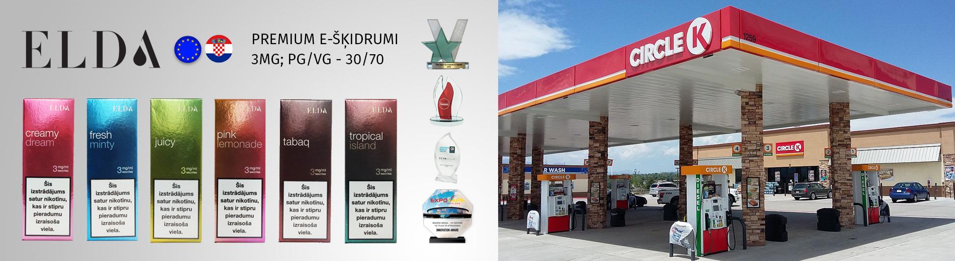 E-šķidrumi Circle K DUS, e-šķidrumi DUS, e-cigaretes, elektroniskās cigaretes, airpuf, elda