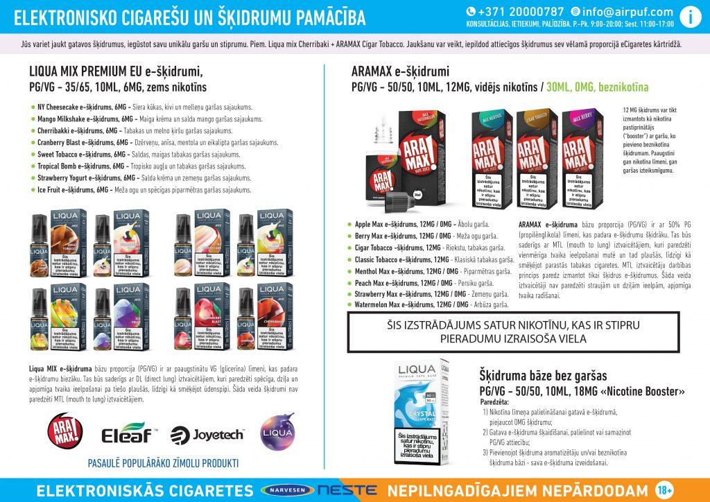 e-cigaretes šķidrumi, e-šķidrumi, narvesen, neste dus, virši a, airpuf